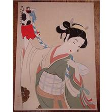 Keigetsu Kikuchi: Woman with Horse Puppet - Japanese Art Open Database