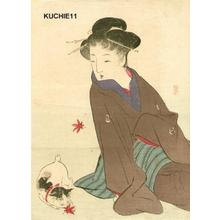 Takeuchi Keishu: Beauty and cat - Japanese Art Open Database
