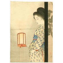 武内桂舟: Bijin Holding Lantern - Japanese Art Open Database