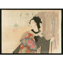 武内桂舟: Bijin with a fan - Japanese Art Open Database