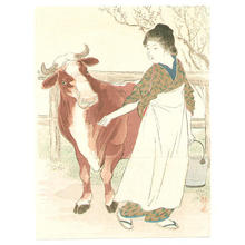 Takeuchi Keishu: Cow Girl - Japanese Art Open Database