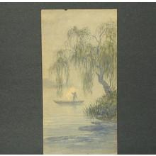 武内桂舟: Riverboat and willow - Japanese Art Open Database