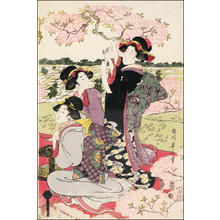 Kikugawa Eizan: Three bijin at a Cherry blossom viewing party - Japanese Art Open Database