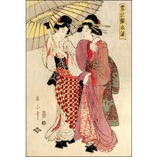 Kikugawa Eizan: Two young bijin sheltering from a spring shower - Japanese Art Open Database