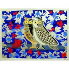 Kimura Yoshiharu: Owl and Red Fruits - Japanese Art Open Database