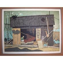 北岡文雄: Old Fisherman in a Net House - Japanese Art Open Database