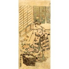 Torii Kiyohiro: Unidentified Kabuki actor in the role of an elegant bijin - Japanese Art Open Database