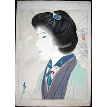 鏑木清方: Bijin Under Large Umbrella — 洋傘美人、大首絵 - Japanese Art Open Database