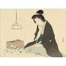 鏑木清方: Bijin sewing - Japanese Art Open Database