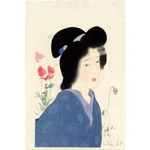 鏑木清方: Girl with Poppies - Japanese Art Open Database