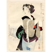 Kaburagi Kiyokata: Three-quarter length portrait of a bijin beside a river - Japanese Art Open Database