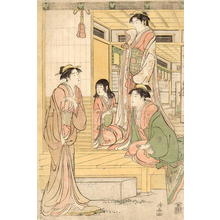 鳥居清長: Three bijin and a maidservant in conversation on the engawa - Japanese Art Open Database