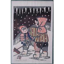 Kiyoshi Saito: Unknown, Two children in snow - Japanese Art Open Database