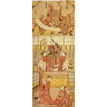 鳥居清経: Three Scenes from Kabuki Plays — 極彩色英雄図・梅花嗣鉢木・倭花小野五文字 - Japanese Art Open Database