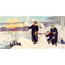 Kobayashi Kiyochika: A Picture of Advance Disposition of Troops at Weihaiwei — shingun haichi no zu. - Japanese Art Open Database