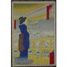 小林清親: A bijin standing on a balcony looking out over a snowscene with lake bridge and trees - Japanese Art Open Database
