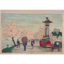 Kobayashi Kiyochika: Cherry Blossom Viewing on the Banks of the Sumida River — 隅田提堤釣堀聞る処 - Japanese Art Open Database