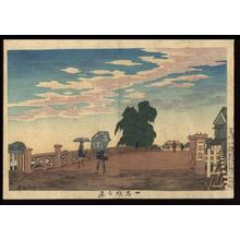 小林清親: Evening View of Ikkokubashi Bridge — 一石橋夕景 - Japanese Art Open Database