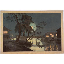 小林清親: Evening View of Imadobashi Bridge — 今戸橋夕景 - Japanese Art Open Database