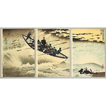 Kobayashi Kiyochika: Japanese troop landing at Rongcheng Bay - Japanese Art Open Database
