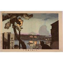 Kobayashi Kiyochika: Mt Fuji Viewed from Edobashi Bridge — 江戸橋夕暮富士 - Japanese Art Open Database