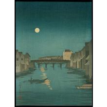 小林清親: Night Scene of Nihonbashi - Japanese Art Open Database