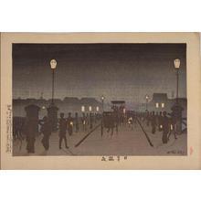 小林清親: Night at Nihombashi Bridge — 日本橋夜 - Japanese Art Open Database