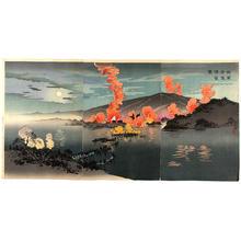 小林清親: Night attack by our armed forces against the Chinese camp at Phyong-Yang —
