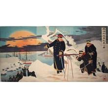 小林清親: Picture of advance disposition of troups at Weihaiwei - Japanese Art Open Database