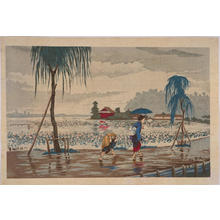 小林清親: Rain at Shinobazu Pond — 不忍池畔雨中図 - Japanese Art Open Database