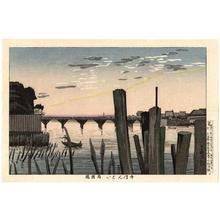 小林清親: Senbongui and Ryogokubashi Bridge (1000 Poles) — 千ほんくい両国橋 - Japanese Art Open Database