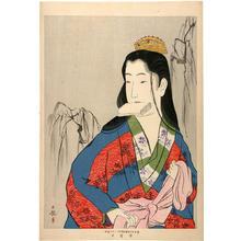 小林清親: Street girl fastening a sash by a willow tree - Japanese Art Open Database