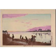 Kobayashi Kiyochika: The Bank of the Sumida River with Ishiwarabashi Bridge — 大川端石原橋 - Japanese Art Open Database