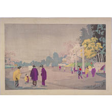 小林清親: A Painter Sketching at Ueno Park — 上野公園画家写生図 - Japanese Art Open Database