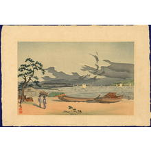 Kobayashi Kiyochika: Beach of Akashi, Harima Province - Japanese Art Open Database
