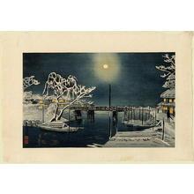 小林清親: Clear moon over Imado Bridge - Asakusa in snow - Japanese Art Open Database