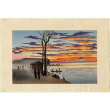 小林清親: Sunset at the Mukojima Hyappon-Kui — 向島百本杭の夕焼 - Japanese Art Open Database
