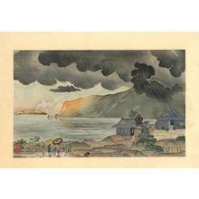 小林清親: Sudden evening shower at Atami in Izu — 伊豆熱海夕立 - Japanese Art Open Database