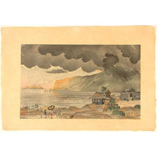 Kobayashi Kiyochika: Sudden evening shower at Atami in Izu — 伊豆熱海夕立 - Japanese Art Open Database