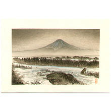 月岡耕漁: Mt Fuji in Winter - Japanese Art Open Database