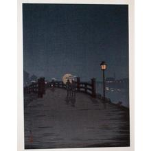 古峰: Night bridge scene - Japanese Art Open Database