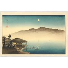 古峰: A Lakeside Inn Under Moonlight - Japanese Art Open Database