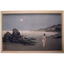古峰: A woman sauntering on a beach by moonlight - Japanese Art Open Database