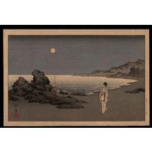 Koho: A woman sauntering on a beach by moonlight - Japanese Art Open Database