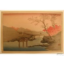 Koho: Autumnal Leaves on the Sluice Gate - Japanese Art Open Database