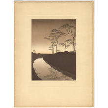 古峰: Canal by Moonlight - Japanese Art Open Database