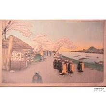 古峰: Cherry blossoms, priests, river - Japanese Art Open Database