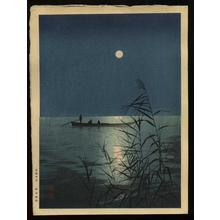 古峰: Fishboat on Moonlit Sea - Japanese Art Open Database