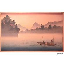 古峰: Fishing in the Morning Mist - Japanese Art Open Database