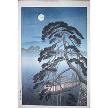 古峰: Unknown night boat scene - Japanese Art Open Database